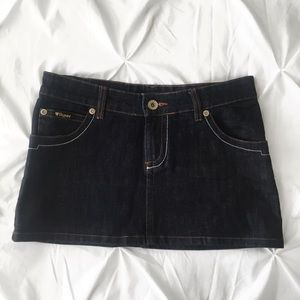 Dark denim low rise mini skirt